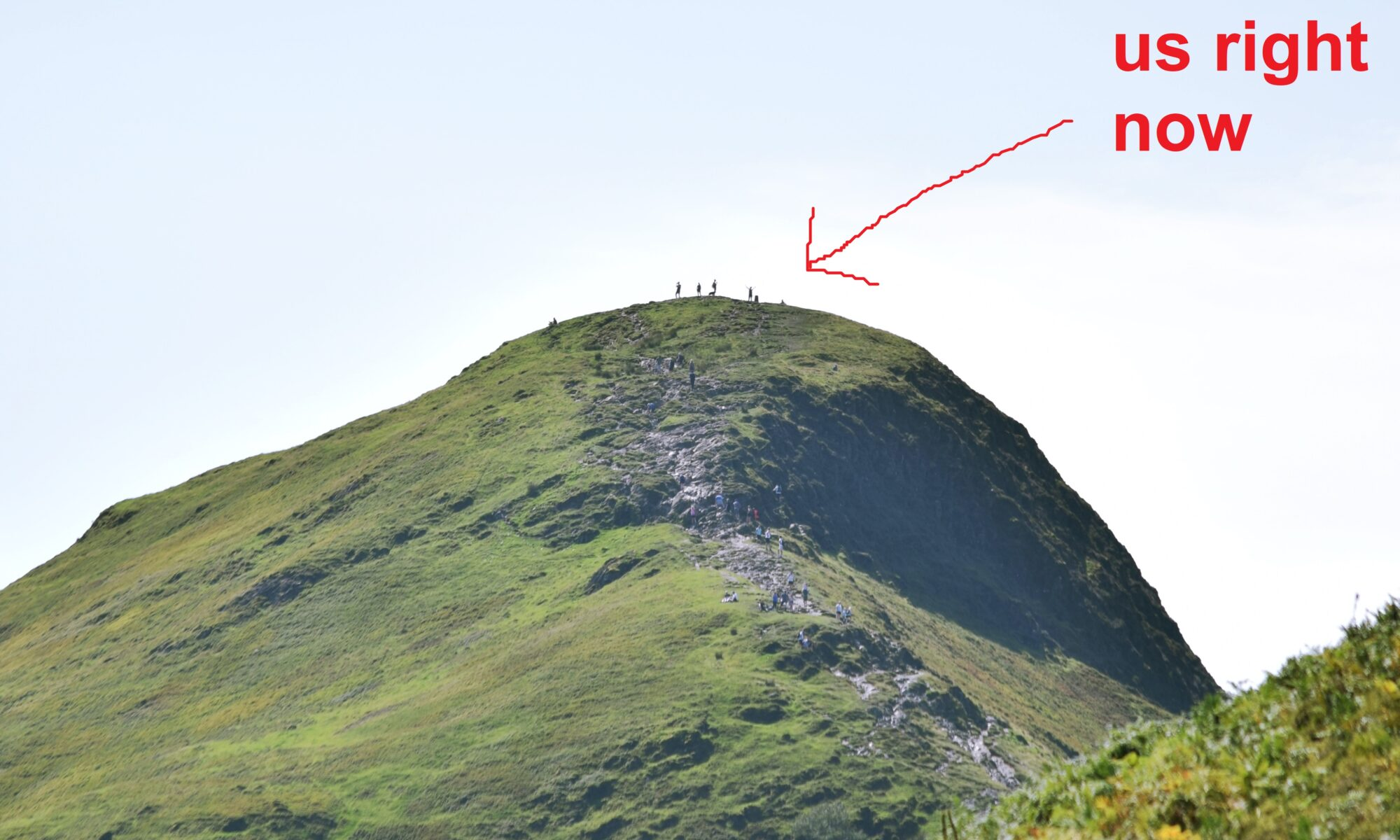 """a group of people at the top of a hill, with an arrow pointing to them saying """"us right now"""""""